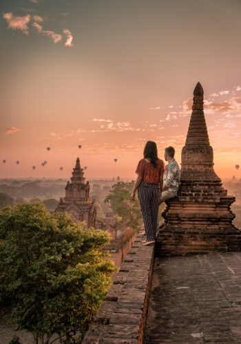 Bagan old ruins temples and pagoda during sunrise Myanmar