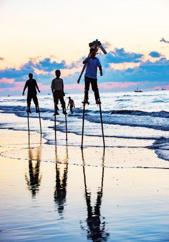 Hai Ly beach Vietnam stilt fishing