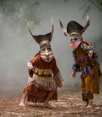 Phi ta khon festival ghost mask and colorful costume loei province Dan Sai thailand festival