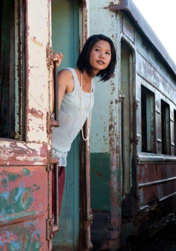 Phnom Penh girl in train cambodia
