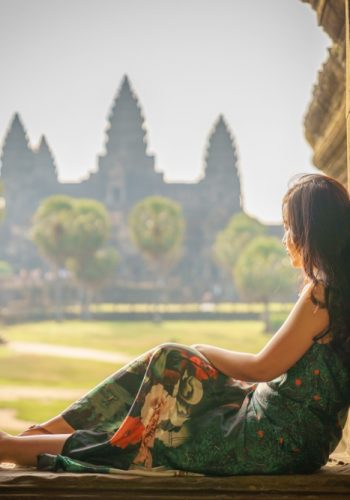 Portrait of young asian millennial brunette girl in the premises of Angkor Wat Cambodia Asia