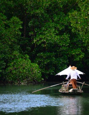 Thai boat called Ruea Mat or also known as the Koh Chang gondola at Salak Khok fisherman village