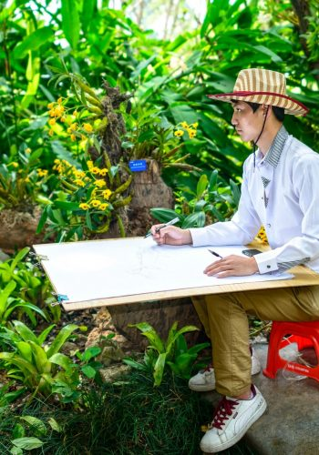 painting sketch in Xishuangbanna Tropical Botanical Garden Chinese Academy of Sciences Menglun Town Mengla County Yunnan Province China