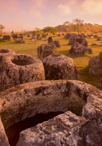 plain of jars UNESCO World Heritage site of Phonsavan Xieng Khuang in north Lao in southeastasia